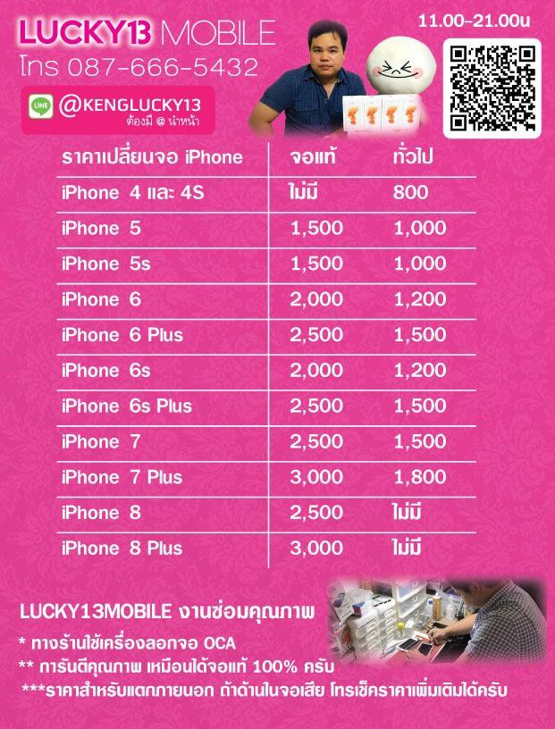 ราคาจอ iPhone